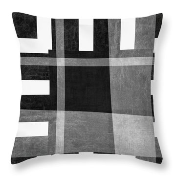 Throw Pillow featuring the photograph On The Tarmac Designer Series 3a16bw by Carol Leigh