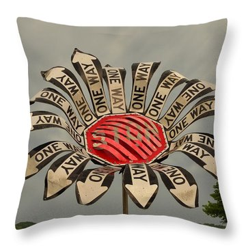 One Way Throw Pillow by Bob Sample