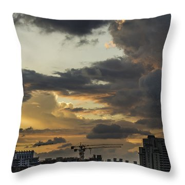Orange And Grey Throw Pillow by Rajiv Chopra
