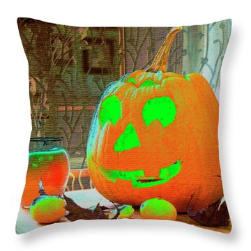 Orange Halloween Decoration Throw Pillow