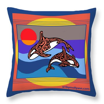 Orca Dance Throw Pillow