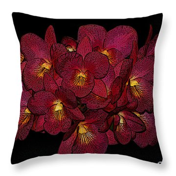 Orchid Floral Arrangement Throw Pillow
