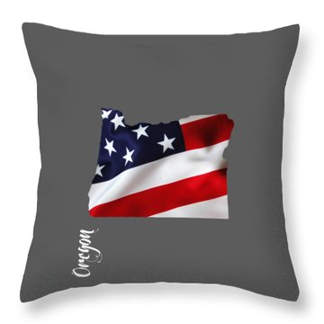 Oregon State Map Collection Throw Pillow by Marvin Blaine