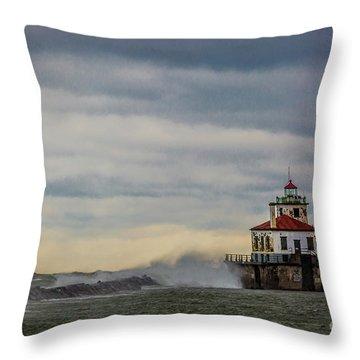 Oswego Harbor West Pierhead Light Throw Pillow
