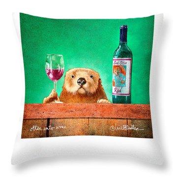 Otter Into Wine... Throw Pillow