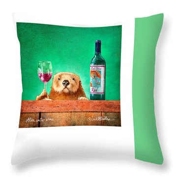Otter Into Wine... Throw Pillow by Will Bullas