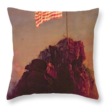 Our Flag Throw Pillow by Frederic Edwin Church