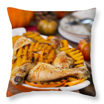 Oven Roasted Chicken With Grilled Pumpkin On A Rustic Table Throw Pillow