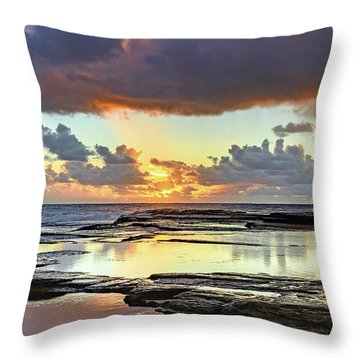 Overcast And Cloudy Sunrise Seascape Throw Pillow