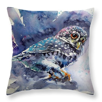 Owl At Night Throw Pillow by Kovacs Anna Brigitta