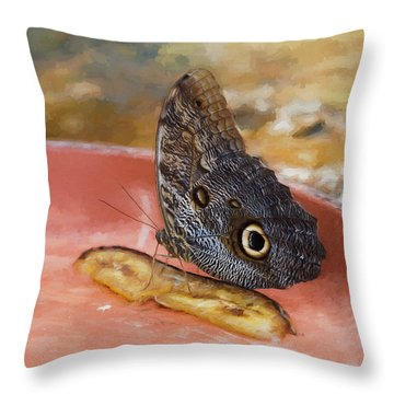 Throw Pillow featuring the photograph Owl Butterfly 2 by Paul Gulliver