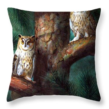 Owls In Moonlight Throw Pillow by Frank Wilson