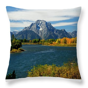 Oxbow Bend In Autumn Throw Pillow by Greg Norrell