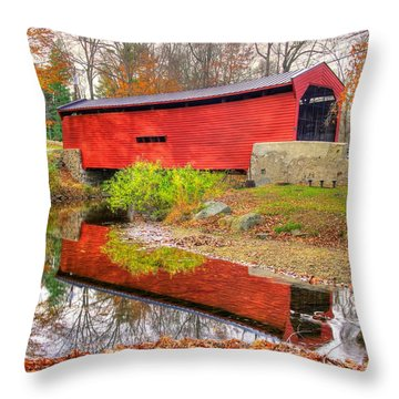 Pa Country Roads- Bartrams / Goshen Covered Bridge Over Crum Creek No.11 Chester / Delaware Counties Throw Pillow