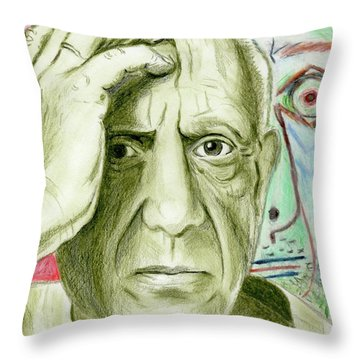 Throw Pillow featuring the drawing Pablo Piccaso by Yoshiko Mishina
