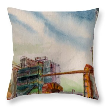 Throw Pillow featuring the painting Paia Mill 2 by Eric Samuelson