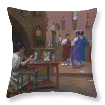 Painting Breathes Life Into Sculpture Throw Pillow