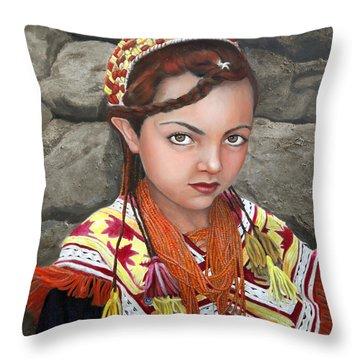 Pakistani Girl Throw Pillow by Enzie Shahmiri
