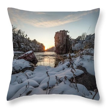 Throw Pillow featuring the photograph  Palisades First Snow by Aaron J Groen