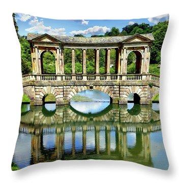 Palladian Bridge Nature Scene Throw Pillow