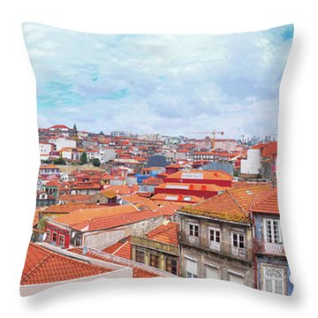 Throw Pillow featuring the photograph panorama of old historic part of Porto by Ariadna De Raadt