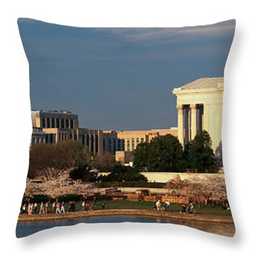 Panoramic View Of Jefferson Memorial Throw Pillow by Panoramic Images