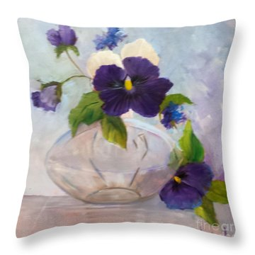 Pansies In Glass Throw Pillow