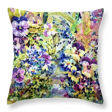 Pansy Path Throw Pillow