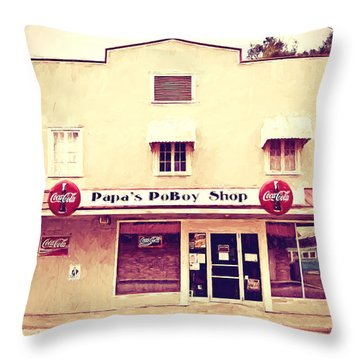 Papa's Poboy Shop Throw Pillow by Scott Pellegrin