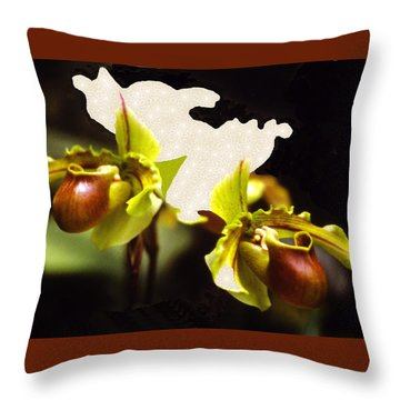 Throw Pillow featuring the mixed media Paphiopedilum Orchid by Rosalie Scanlon