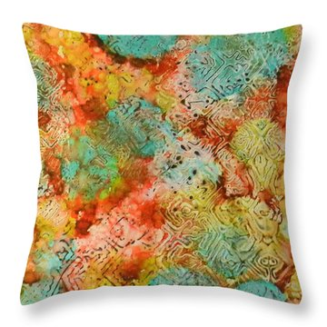 Throw Pillow featuring the painting Paprika Drift Ink #18 by Sarajane Helm