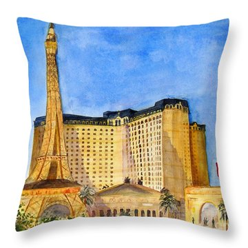 Paris Hotel And Casino Throw Pillow