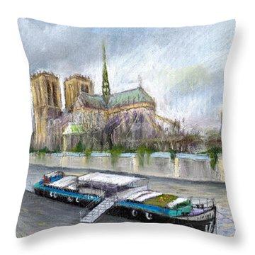 Paris Notre-dame De Paris Throw Pillow by Yuriy  Shevchuk
