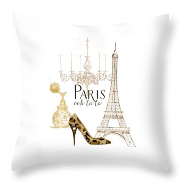 Paris - Ooh La La Fashion Eiffel Tower Chandelier Perfume Bottle Throw Pillow