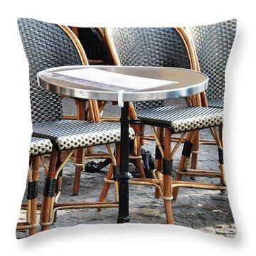Parisian Cafe Terrace Throw Pillow