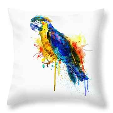 Parrot Watercolor  Throw Pillow by Marian Voicu