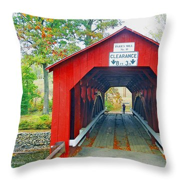 Parr's Mill Covered Bridge, Columbia County, Pennsylvania Throw Pillow