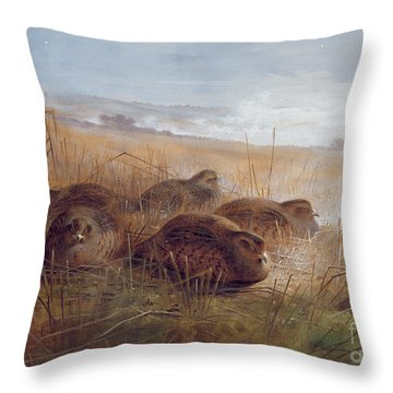 Partridges Throw Pillow