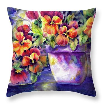 Patio Pansies Throw Pillow