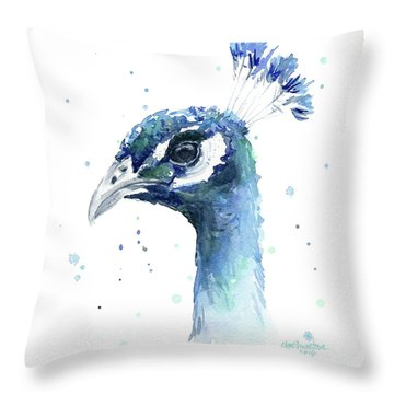 Peacock Watercolor Throw Pillow by Olga Shvartsur