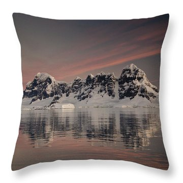 Peaks At Sunset Wiencke Island Throw Pillow by Colin Monteath