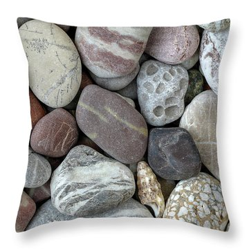 Pebbles In Earth Colors - Stone Pattern Throw Pillow by Michal Boubin
