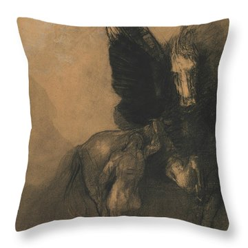 Pegasus And Bellerophon Throw Pillow by Odilon Redon
