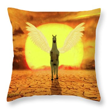 Pegasus By Mary Bassett Throw Pillow