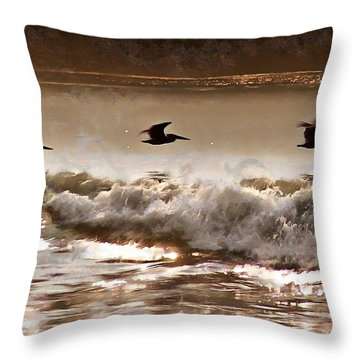Throw Pillow featuring the photograph Pelican Patrol by Jim Proctor