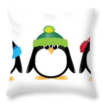 Penguins Isolated Throw Pillow by Jane Rix