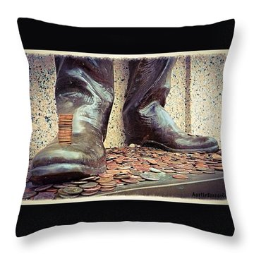 #pennies And A Good #luck #tradition At Throw Pillow by Austin Tuxedo Cat