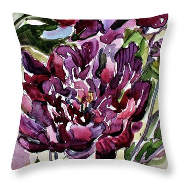 Throw Pillow featuring the painting Peonies by Mindy Newman
