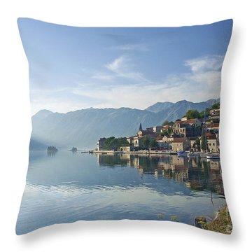 Perast Village In The Bay Of Kotor In Montenegro  Throw Pillow
