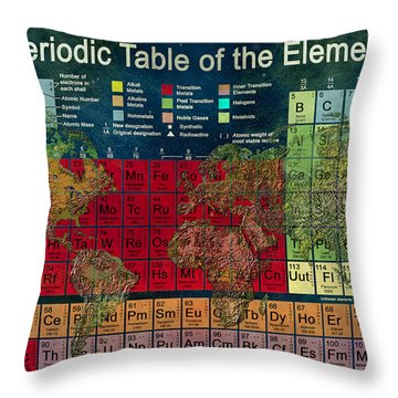 Periodic Table Of The Elements Throw Pillow by Carol and Mike Werner